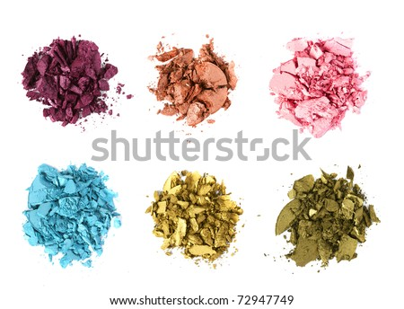eye shadow crushed samples isolated on white - stock photo