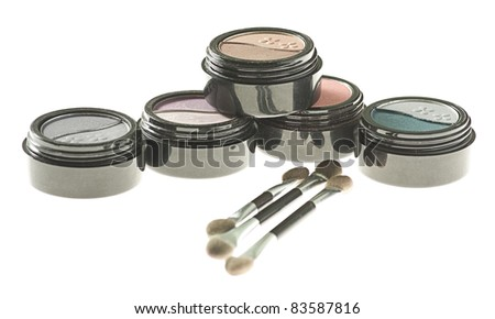 eye shadow makeup isolated on a white background - stock photo
