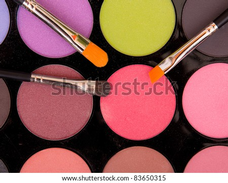 Eye shadows palette with brushes - stock photo