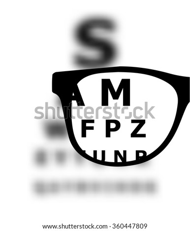 Eye test blurred with glasses - stock photo