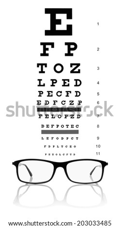 eye test chart and eyeglasses isolated on white  - stock photo