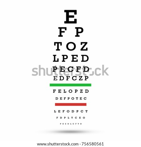 Eye test chart. The testing board. with clipping path