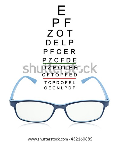 eye test chart with blue glass isolated on white background. - stock photo
