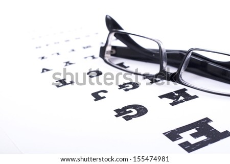 Eye test - Stock Image - white background - stock photo