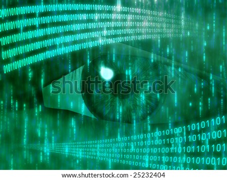 Eye viewing digital information represented by ones and zeros - stock photo