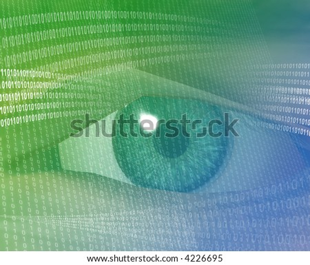 Eye viewing electronic information Green background digits - stock photo