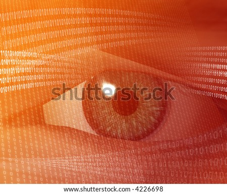Eye viewing electronic information Orange background digits - stock photo