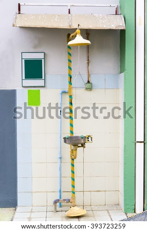 Eye wash shower for emergency - stock photo