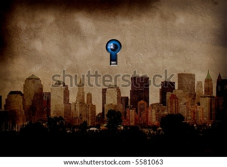 Eye watches city covertly - stock photo