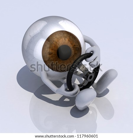 eye with arms and steering wheel car, 3d illustration - stock photo