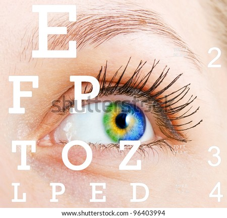 Eye with test vision chart - stock photo