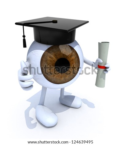eyeball with arms and legs, Graduation Cap and Diploma, 3d illustration - stock photo