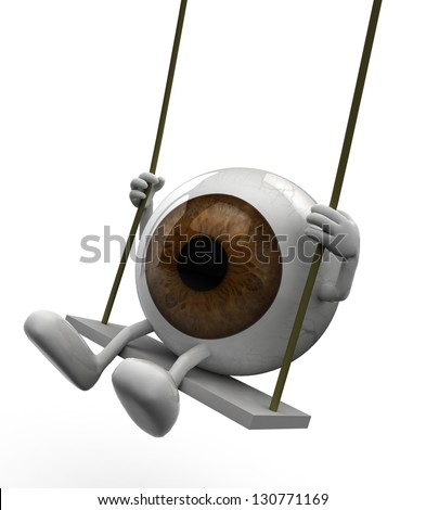 eyeball with arms and legs on a swing, 3d illustration