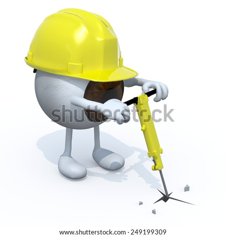 eyeball with arms, legs, work helmet and jackhammer on hand, 3d illustration - stock photo