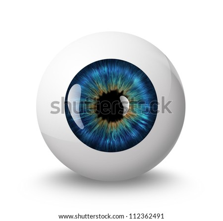 eyeball with shadow on white background - stock photo