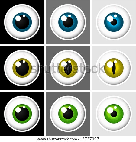 Eyeballs human and animal - stock photo