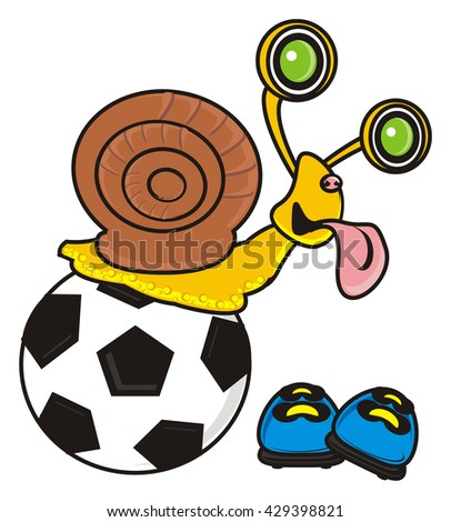 eyed snail sticking his tongue out and sitting on top of a soccer ball - stock photo