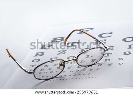 Eyeglass with the alphabet paper in mood lighting - stock photo