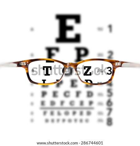Eyeglasses against eye chart