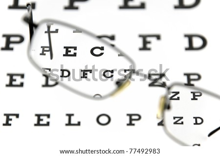 Eyeglasses and snellen eye chart. The eye test chart is shown blurred in the background. - stock photo