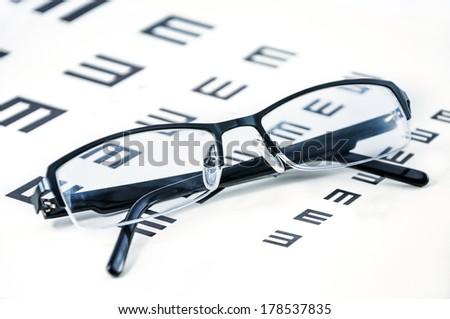 Eyeglasses on a eye sight test chart - stock photo