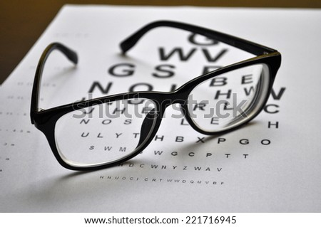 Eyeglasses on eye charts background closeup - stock photo