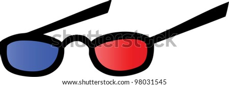 Eyeglasses With Blue And Red Lens For 3d Movies. Raster Illustration.Vector version also available in portfolio. - stock photo
