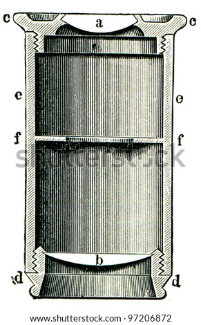 eyepiece of the microscope - an illustration of the encyclopedia publishers Education, St. Petersburg, Russian Empire, 1896 - stock photo