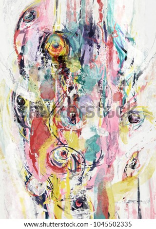 Eyes abstract composition. Abstract painting, color brushstrokes, shapes