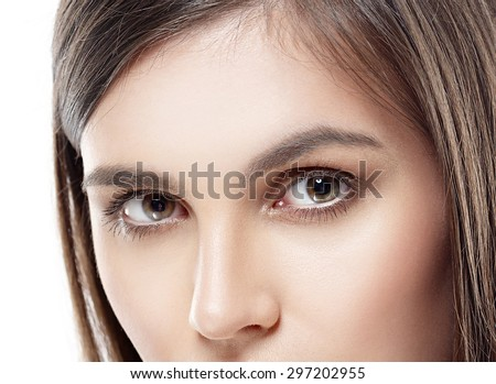 Eyes beautiful woman face studio on white close-up - stock photo