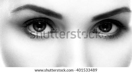 Eyes beautiful woman face studio on white close-up black and white  - stock photo
