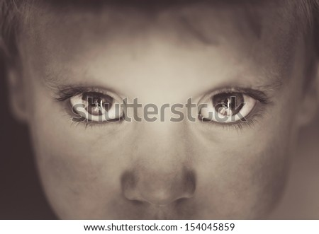 Eyes close-up little boy - stock photo
