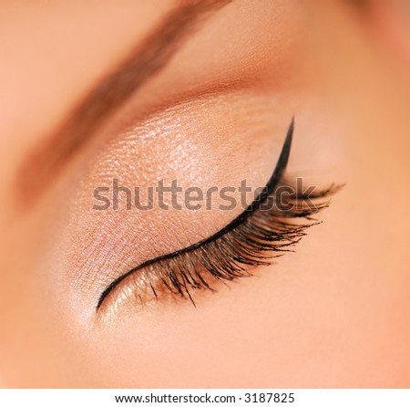 Eyes Closed. Black eyeliner. Sensuality. Lashes. - stock photo