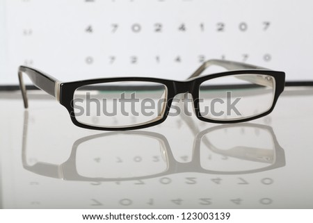Eyes examination- glasses on eye chart, closeup - stock photo