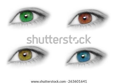 Eyes isolated on white background - stock photo