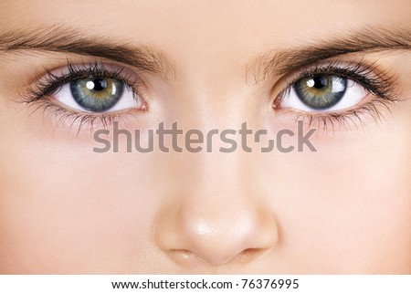 Eyes of five-year-old girl - stock photo