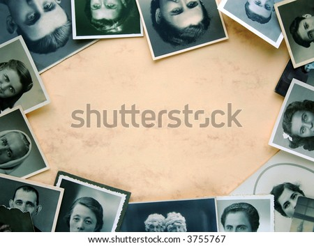 Eyes of old times. Ancient, worn, spotted and grainy photographs as frame on yellowish background - stock photo