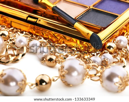Eyeshadow and decorative cosmetics. Still life. - stock photo