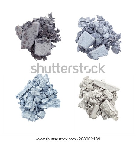 Eyeshadow in blue and silver isolated on white background - stock photo