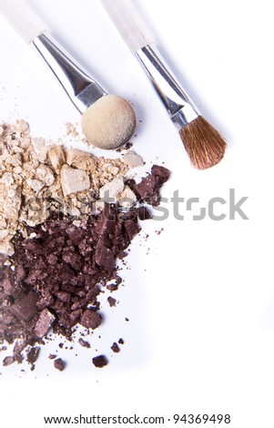 eyeshadow in heart shape on white background