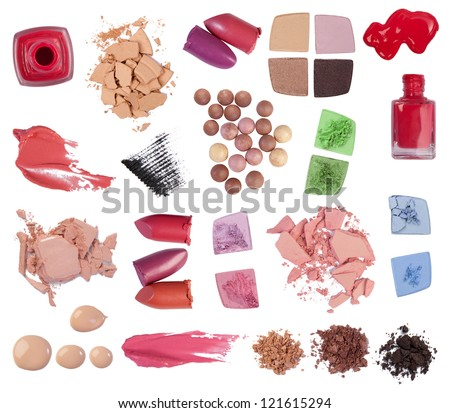 Eyeshadow, lipstick, mascara and other makeup products isolated on white background
