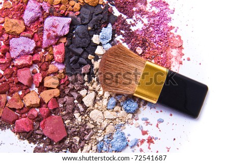 eyeshadow mix with brush on white background - stock photo