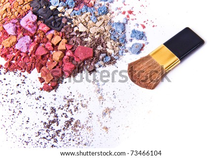 eyeshadow mix with brush on white background - stock photo