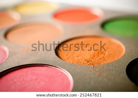 Eyeshadow palette - low angle view - stock photo