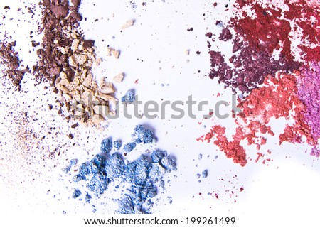 eyeshadow palette on white background - stock photo