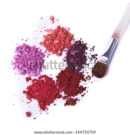 eyeshadow palette with brush on white background - stock photo