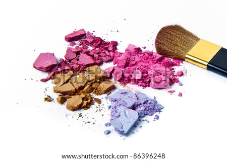 eyeshadow palette with brush on white background - stock photo