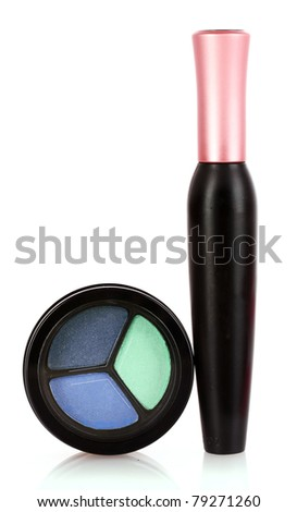 eyeshadows and mascara isolated on white - stock photo