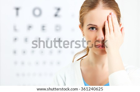 eyesight check. woman  at the doctor ophthalmologist optician - stock photo