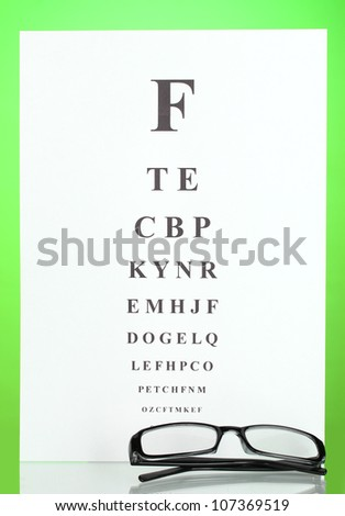 Eyesight test chart with glasses on green background close-up